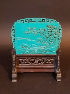Antique Chinese Carved Turquoise With Wood Stand