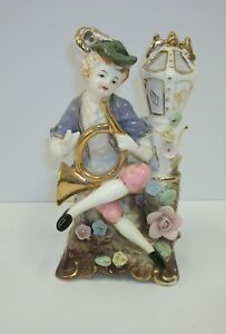 Vintage Vcagco Porcelain Figurine Victorian Boy W French Horn By Lamp Post