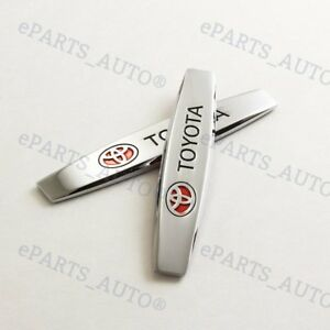 2pcs Chrome Metal Side Rear Car Sticker Fender Door Emblem Badge 3d For Toyota