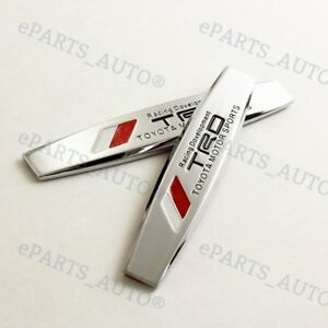 2pcs Trd Chrome Metal Side Rear Car Sticker Fender Door Emblem Badge For Toyota