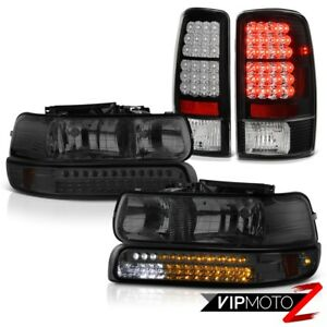 2000 2006 Tahoe 4 8l Led Smoked Bumper headlamps Bright Led Tail Lights Assembly
