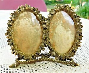 Vintage Ornate Double Oval Brass Picture Frame 2 25 X 1 5 Photo Windows