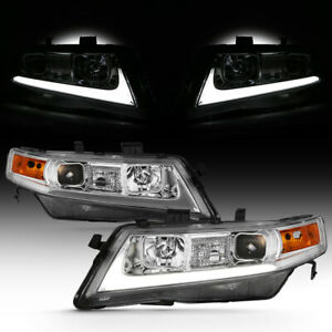 For 04 08 Acura Tsx Cl9 Led Light Bar Neon Tube Projector Head Lamp L R Assembly