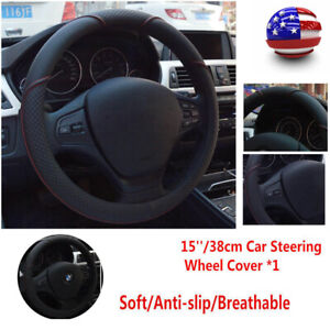 Universal 38cm 15inch Black Red Car Steering Wheel Cover Stitching Pu Leather