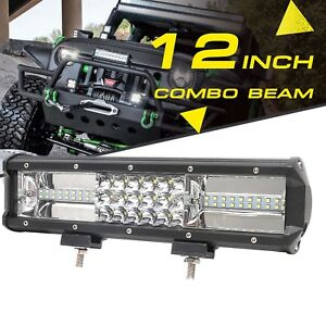 12 inch 324w Led Work Light Bar Flood Spot Combo Car Truck Suv Pk Tri Row 12 24v