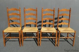 Set Of Four Vintage French Country Tall Ladder Back Rush Seat Dining Chairs
