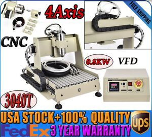 4axis Cnc 3040t Router Engraving Carving Machine Wood Pmma Pvc 0 8kw Vfd Usa