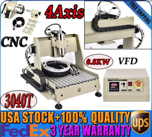 4axis Cnc3040t Router Engraving Carving Cutting Machine Wood Pmma Pvc 800w Vfd