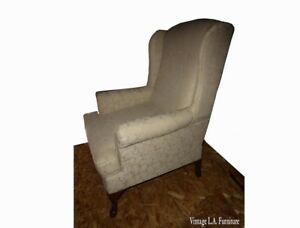Vintage French Country Off White Floral Design Accent Wing Back Arm Chair