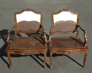 Pair Vintage French Provincial Country Style Carved Wood Cane Accent Chairs