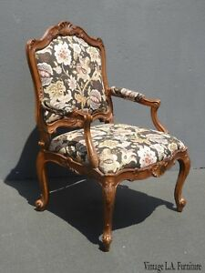Vintage French Provincial Brown Floral Accent Bergere Chair By Heritage