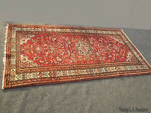 Vintage Red Floral Design Hand Knotted Wool Persian Rug Made In Iran