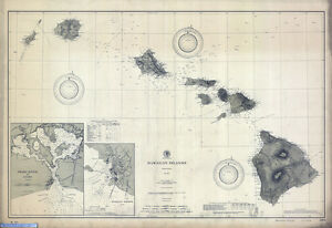 1902 Nautical Map Of The Hawaiian Islands