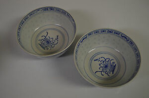 Porcelain Rice Bowl Blue And Off White Bowl Set Made In China