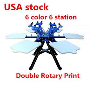 Us 6 Color 6 Screen Printing Press Station Printer Double Rotary Print Equipment