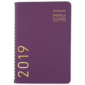Contemporary Weekly monthly Planner 4 7 8 X 8 Purple 2019