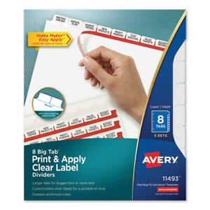 Print And Apply Index Maker Clear Label Dividers 8 White Tabs Letter 5 Sets