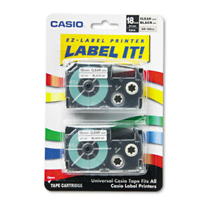 Tape Cassettes For Kl Label Makers 18mm X 26ft Black On Clear 2 pack