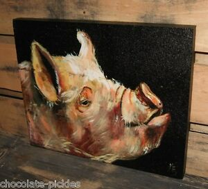 Pig Hog Face Head Canvas Wall Picture Farmhouse Primitive French Country Decor