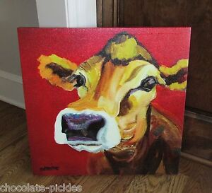Large Jersey Cow Canvas Wall Picture Farmhouse Primitive French Country Decor