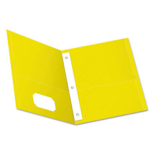 Twin pocket Folders With 3 Fasteners Letter 1 2 Capacity Yellow 25 box