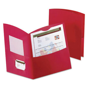 Contour Two pocket Folder Recycled Paper 100 sheet Capacity Red