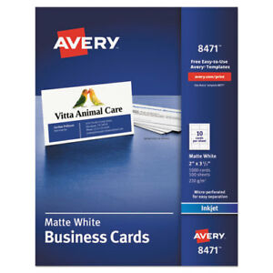 Printable Microperf Business Cards Inkjet 2 X 3 1 2 White Matte 1000 box