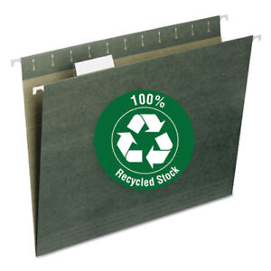 100 Recycled Hanging File Folders Letter Size 1 5 cut Tab Standard Green