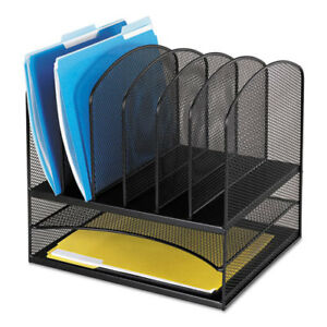 Onyx Mesh Desk Organizer With Two Horizontal And Six Upright Sections Letter