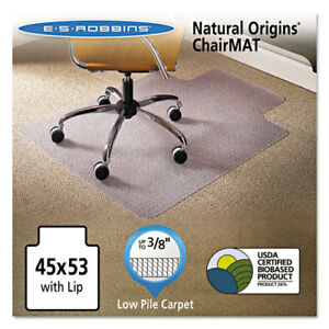 Natural Origins Chair Mat With Lip For Carpet 45 X 53 Clear