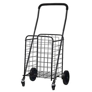 Forup Utility Shopping Cart With Rolling Swivel Wheels black
