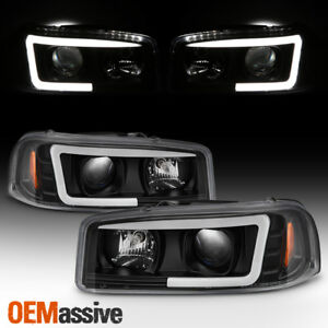 For 99 06 Gmc Yukon Sierra 1500 2500 Hd 3500 Black Led Tube Projector Headlights