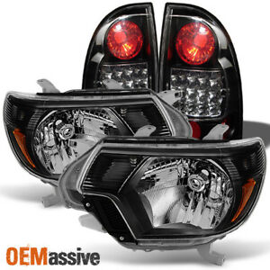 Fits 12 15 Toyota Tacoma Pickup Black Headlights Black Led Tail Light Brake Lamp