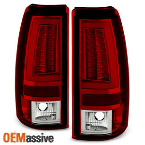 Fits 1999 2002 Silverado Sierra 1500 2500hd 01 03 3500 Red Clear Led Tail Lights
