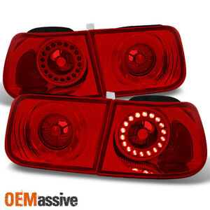 Fit 96 00 Civic 2dr Coupe Red Lens Led Ring Tail Lights Brake Lamps Repalcement