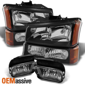 Fits 03 06 Silverado Avlanche Black Headlights Bumper Signal Smoked Fog Lights