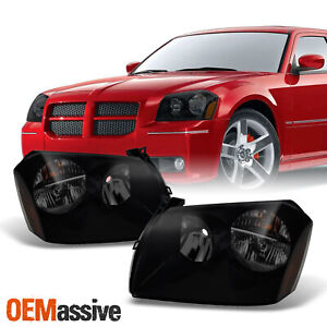 Fit 2005 2007 Dodge Magnum Black Smoke Replacement Headlights Left Right
