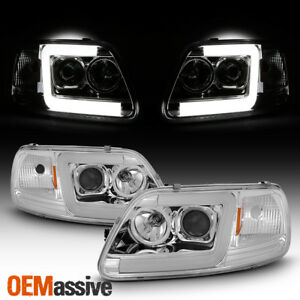 Fits 97 03 Ford F150 97 02 Expedition Led Light Bar Projector Headlights