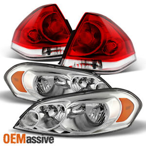 Fit 06 13 Chevy Impala Clear Headlights Red Clear Replacement Tail Lights