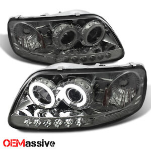 Fits 97 03 Ford F150 Expedition Smoke Ccfl Halo Led 1 Piece Projector Headlights