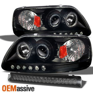 Fits 97 03 Ford F150 Halo Projector Black Headlights Full Led 3rd Brake Lamp