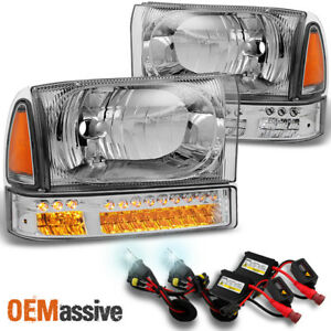 Fit 1999 2004 Ford F series 00 04 Excursion Headlights W led Bumper 6k Hid