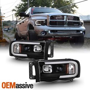 For 02 05 Dodge Ram 1500 03 05 2500 3500 Light Bar Projector Headlights Black