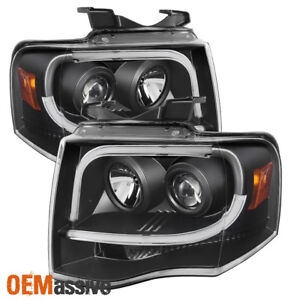 Fits 2007 2014 Ford Expedition Black Dual Drl Led Bar Projector Headlights Lamps