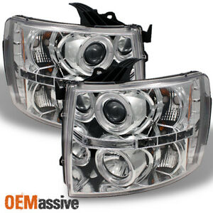 Fits 07 13 Silverado Pickup Chrome Clear Dual Halo Projector Led Headlights Set