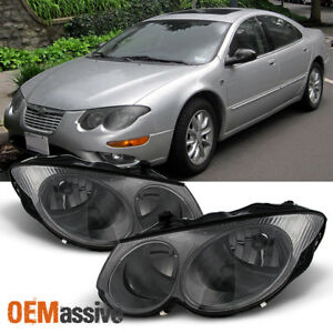 Fit 1999 2004 Chrysler 300m Smoked Replacement Headlights Headlamps Left Right