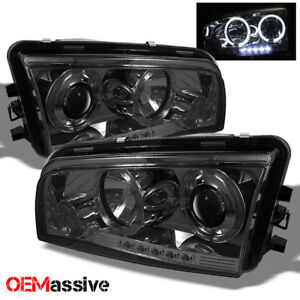 Fits 06 10 Dodge Charger Smoke Dual Halo Led Projector Headlights Halogen Model