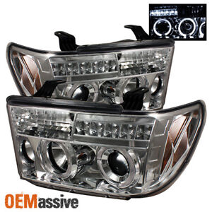 Fits 07 13 Toyota Tundra 08 Sequoia Dual Halo Projector Led Headlights Pair Set