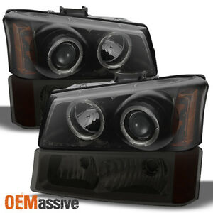 Fits 03 06 Silverado Black smoked Halo Led Projector Headlights smoked Bumper