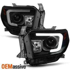 Fits 2014 2017 Toyota Tundra Black Smoked Drl Led Tube Projector Headlights